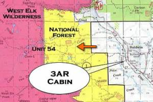 map of hunting cabin at unit 54 in gunnison colorado